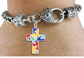 <bR>    WHOLESALE AUTISM CHARM BRACELET <BR>                     EXCLUSIVELY OURS!! <BR>                AN ALLAN ROBIN DESIGN!! <BR>          CADMIUM, LEAD & NICKEL FREE!! <BR>W1572SB - 2-SIDED SILVER TONE AUTISM <BR>COLOR PUZZLE CROSS CHARM & HEART CLASP <BR>      BRACELET FROM $4.40 TO $9.20 �2014