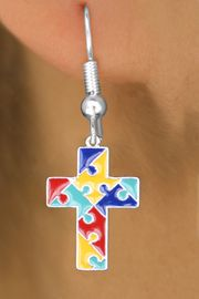 <br>     WHOLESALE AUTISM CHARM EARRINGS <bR>                 EXCLUSIVELY OURS!! <BR>            AN ALLAN ROBIN DESIGN!! <BR>      CADMIUM, LEAD & NICKEL FREE!! <BR>    W1572SE - 2-SIDED SILVER TONE AUTISM <Br>COLOR PUZZLE CROSS CHARM EARRINGS <BR>          FROM $3.65 TO $8.40 �2014