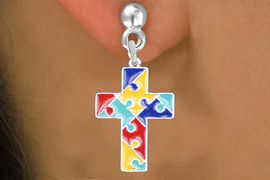 """<br>     WHOLESALE AUTISM CHARM EARRINGS <bR>                 EXCLUSIVELY OURS!! <BR>            AN ALLAN ROBIN DESIGN!! <BR>   """"Lord Protect Me And Keep Me Safe""""<BR>         CADMIUM, LEAD & NICKEL FREE!! <BR>    W1572SE - 2-SIDED SILVER TONE AUTISM <Br>COLOR PUZZLE CROSS CHARM EARRINGS <BR>          FROM $3.65 TO $8.40 �2014"""