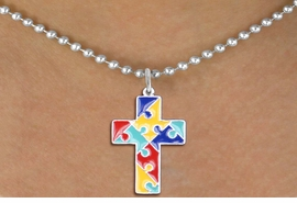 """<br>      WHOLESALE FASHION AUTISM JEWELRY <bR>                   EXCLUSIVELY OURS!! <BR>            AN ALLAN ROBIN DESIGN!! <BR>     """"Lord Protect Me And Keep Me Safe""""<BR>        CADMIUM, LEAD & NICKEL FREE!! <BR>   W1572SN - 2-SIDED SILVER TONE AUTISM <BR> COLOR PUZZLE CROSS CHARM & NECKLACE <BR>             FROM $6.10 TO $9.85 �2014"""