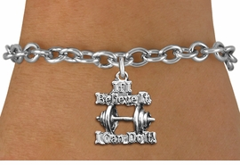 """<br> WHOLESALE SPORTS CHARM BRACELET <bR>                    EXCLUSIVELY OURS!!<BR>               AN ALLAN ROBIN DESIGN!!<BR>      CLICK HERE TO SEE 1000+ EXCITING<BR>            CHANGES THAT YOU CAN MAKE!<BR>         CADMIUM, LEAD & NICKEL FREE!!<BR>W1573SB - SILVER TONE """"IF I CAN BELIEVE IT,<Br>  I CAN DO IT!"""" WEIGHT CHARM & BRACELET <BR>             FROM $4.50 TO $8.35 �2014"""