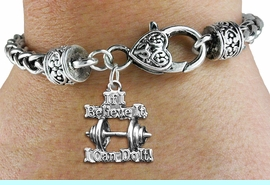 """<bR>    WHOLESALE SPORTS CHARM BRACELET <BR>                     EXCLUSIVELY OURS!! <BR>                AN ALLAN ROBIN DESIGN!! <BR>          CADMIUM, LEAD & NICKEL FREE!! <BR>W1573SB - 3D SILVER TONE """"IF I BELIEVE IT,<BR> I CAN DO IT!"""" WEIGHTLIFTING CHARM & HEART<BR>CLASP BRACELET FROM $4.40 TO $9.20 �2014"""
