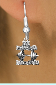 """<br>     WHOLESALE SPORTS CHARM EARRINGS <bR>                 EXCLUSIVELY OURS!! <BR>            AN ALLAN ROBIN DESIGN!! <BR>      CADMIUM, LEAD & NICKEL FREE!! <BR>W1573SE - SILVER TONE """"IF I BELIEVE IT,<Br> I CAN DO IT!"""" WEIGHTLIFTING CHARM EARRINGS <BR>          FROM $3.65 TO $8.40 �2014"""