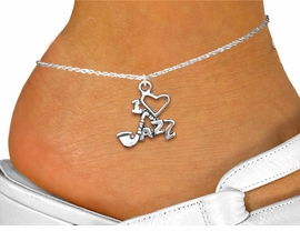 """<bR>WHOLESALE MUSIC AND DANCE JEWELRY<BR>                  EXCLUSIVELY OURS!! <BR>             AN ALLAN ROBIN DESIGN!! <BR>       CADMIUM, LEAD & NICKEL FREE!! <BR>    W1574SAK - DETAILED SILVER TONE <Br> """"I LOVE JAZZ"""" CHARM & ANKLET <BR>           FROM $3.65 TO $8.30 �2014"""