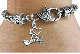 """<bR>WHOLESALE MUSIC & DANCE CHARM BRACELET <BR>                     EXCLUSIVELY OURS!! <BR>                AN ALLAN ROBIN DESIGN!! <BR>          CADMIUM, LEAD & NICKEL FREE!! <BR>W1574SB - DETAILED 3D SILVER TONE <BR> """"I LOVE JAZZ"""" CHARM & HEART CLASP <BR>      BRACELET FROM $4.40 TO $9.20 �2014"""