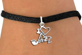 """<br>WHOLESALE MUSIC & DANCE CHARM BRACELET <bR>                    EXCLUSIVELY OURS!!<BR>               AN ALLAN ROBIN DESIGN!!<BR>      CLICK HERE TO SEE 1000+ EXCITING<BR>            CHANGES THAT YOU CAN MAKE!<BR>         CADMIUM, LEAD & NICKEL FREE!!<BR>     W1574SB - DETAILED 3D SILVER TONE <Br>""""I LOVE JAZZ"""" CHARM & BRACELET <BR>             FROM $4.50 TO $8.35 �2014"""