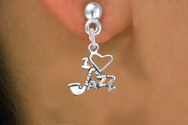 """<br>WHOLESALE MUSIC & DANCE CHARM EARRINGS <bR>                 EXCLUSIVELY OURS!! <BR>            AN ALLAN ROBIN DESIGN!! <BR>      CADMIUM, LEAD & NICKEL FREE!! <BR>W1574SE - DETAILED SILVER TONE <Br>""""I LOVE JAZZ"""" CHARM EARRINGS <BR>          FROM $3.65 TO $8.40 �2014"""