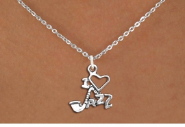 "<br>          JAZZ NECKLACE, ADJUSTABLE <bR>                   EXCLUSIVELY OURS!! <BR>         AN ALLAN ROBIN DESIGN!! <BR>        CADMIUM, LEAD & NICKEL FREE!! <BR>  W1574SN - DETAILED 3D SILVER <BR>""I LOVE JAZZ"" CHARM & NECKLACE <BR>             FROM $4.85 TO $8.30 �2014"