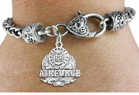 <bR> WHOLESALE ARMED FORCES CHARM BRACELET <BR>                     EXCLUSIVELY OURS!! <BR>                AN ALLAN ROBIN DESIGN!! <BR>          CADMIUM, LEAD & NICKEL FREE!! <BR>W1575SB - DETAILED 3D SILVER TONE <BR> U.S. AIRFORCE INSIGNIA CHARM & HEART CLASP <BR>      BRACELET FROM $4.40 TO $9.20 �2014