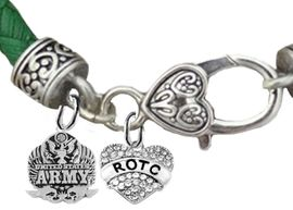 <BR><B> U.S. ARMY ROTC BRACELET</B><br>      <br>GENUINE CRYSTAL AND GENUINE LEATHER GREEN BRACELET<BR>NICKEL, LEAD, AND POISONOUS CADMIUM FREE<br>W1576-1788B35  $11.68 EACH  �2019