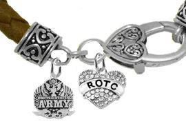 <BR><B> U.S. ARMY ROTC BRACELET</B><br>      <br>GENUINE CRYSTAL ROTC CHARM, ARMY CHARM  AND <BR>GENUINE LEATHER BROWN BRACELET<BR>NICKEL, LEAD, AND POISONOUS CADMIUM FREE<br>W1576-1788B35  $11.68 EACH  �2019