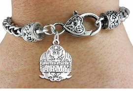 <bR> WHOLESALE ARMED FORCES CHARM BRACELET <BR>                     EXCLUSIVELY OURS!! <BR>                AN ALLAN ROBIN DESIGN!! <BR>          CADMIUM, LEAD & NICKEL FREE!! <BR>W1576SB - DETAILED 3D SILVER TONE <BR> U.S. ARMY INSIGNIA CHARM & HEART CLASP <BR>      BRACELET FROM $4.40 TO $9.20 �2014