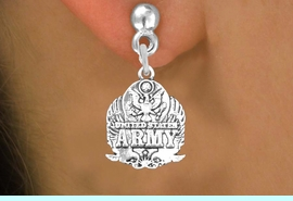 <br>WHOLESALE ARMED FORCES CHARM EARRINGS <bR>                 EXCLUSIVELY OURS!! <BR>            AN ALLAN ROBIN DESIGN!! <BR>      CADMIUM, LEAD & NICKEL FREE!! <BR>W1576SE - DETAILED SILVER TONE <Br>U.S. ARMY INSIGNIA CHARM EARRINGS <BR>          FROM $3.65 TO $8.40 �2014