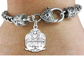 <bR> WHOLESALE ARMED FORCES CHARM BRACELET <BR>                     EXCLUSIVELY OURS!! <BR>                AN ALLAN ROBIN DESIGN!! <BR>          CADMIUM, LEAD & NICKEL FREE!! <BR>W1578SB - DETAILED 3D SILVER TONE <BR> U.S. NAVY INSIGNIA CHARM & HEART CLASP <BR>      BRACELET FROM $4.40 TO $9.20 �2014