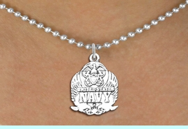 <br>WHOLESALE ARMED FORCES FASHION JEWELRY <bR>                   EXCLUSIVELY OURS!! <BR>         AN ALLAN ROBIN DESIGN!! <BR>   CLICK HERE TO SEE 1000+ EXCITING <BR>      CHANGES THAT YOU CAN MAKE! <BR>        CADMIUM, LEAD & NICKEL FREE!! <BR>  W1578SN - DETAILED 3D SILVER TONE <BR>U.S. NAVY INSIGNIA CHARM & NECKLACE <BR>             FROM $4.85 TO $8.30 �2014