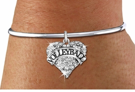 """<BR>                VOLLEYBALL HEART JEWELRY <bR>                        EXCLUSIVELY OURS!! <Br>                   AN ALLAN ROBIN DESIGN!! <BR>             LEAD, NICKEL & CADMIUM FREE!! <BR>        W1580SB - ANTIQUED SILVER TONE AND <BR>     CLEAR CRYSTAL """"VOLLEYBALL"""" HEART CHARM <BR>        BRACELET FROM $5.40 TO $9.85 �2014<BR>PICTURED ABOVE """"REMOVABLE SCREW BALL END"""""""