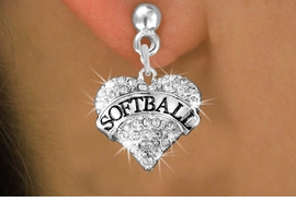 """<BR>     WHOLESALE FASHION HEART JEWELRY <bR>                   EXCLUSIVELY OURS!! <Br>              AN ALLAN ROBIN DESIGN!! <BR>        LEAD, NICKEL & CADMIUM FREE!! <BR>   W1582SE - ANTIQUED SILVER TONE AND <BR>CLEAR CRYSTAL """"SOFTBALL"""" HEART CHARM <BR>POST EARRING FROM $5.40 TO $9.35 �2014"""