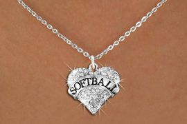"""<BR>    SOFTBALL NECKLACE - ADJUSTABLE <bR>            <Br>    <BR>        LEAD, NICKEL & CADMIUM FREE!! <BR>   W1582N1 - ANTIQUED SILVER TONE AND <BR>CLEAR CRYSTAL """"SOFTBALL"""" HEART CHARM <BR> CABLE CHAIN NECKLACE<BR> $9.68 EACH �2014"""