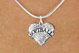 """<BR>     SOFTBALL NECKLACE - ADJUSTABLE <bR>                    <Br>              <BR>        LEAD, NICKEL & CADMIUM FREE <BR>   W1582N2 - ANTIQUED SILVER TONE AND <BR>CLEAR CRYSTAL """"SOFTBALL"""" HEART CHARM <BR>   SNAKE CHAIN NECKLACE  $9.68 EACH  �2014"""