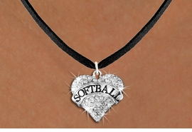 """<BR>     SOFTBALL NECKLACE - ADJUSTABLE <bR>                   <Br>               <BR>          LEAD, NICKEL & CADMIUM FREE!! <BR>   W1582N3 - ANTIQUED SILVER TONE AND <BR>CLEAR CRYSTAL """"SOFTBALL"""" HEART CHARM <BR>   NECKLACE BLACK SUEDE NECKLACE<BR> $9.68 EACH �2014"""