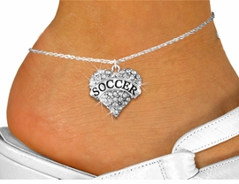 "<BR>     WHOLESALE FASHION HEART JEWELRY <bR>                   EXCLUSIVELY OURS!! <Br>              AN ALLAN ROBIN DESIGN!! <BR>        LEAD, NICKEL & CADMIUM FREE!! <BR>   W1583SAK - ANTIQUED SILVER TONE AND <BR>CLEAR CRYSTAL ""SOCCER"" HEART CHARM <BR>  ANKLET FROM $5.40 TO $9.35 �2014"