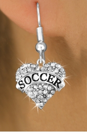"""<BR>          WHOLESALE FASHION HEART JEWELRY <bR>                        EXCLUSIVELY OURS!! <Br>                   AN ALLAN ROBIN DESIGN!! <BR>              LEAD, NICKEL & CADMIUM FREE!! <BR>        W1583SE - ANTIQUED SILVER TONE AND <BR>     CLEAR CRYSTAL """"SOCCER"""" HEART CHARM <BR>FISH HOOK EARRING FROM $5.40 TO $9.35 �2014"""