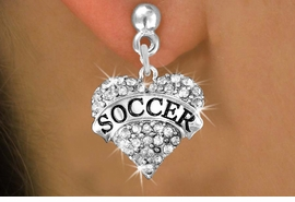 """<BR>     WHOLESALE FASHION HEART JEWELRY <bR>                   EXCLUSIVELY OURS!! <Br>              AN ALLAN ROBIN DESIGN!! <BR>        LEAD, NICKEL & CADMIUM FREE!! <BR>   W1583SE - ANTIQUED SILVER TONE AND <BR>CLEAR CRYSTAL """"SOCCER"""" HEART CHARM <BR>   EARRING FROM $5.40 TO $9.35 �2014"""