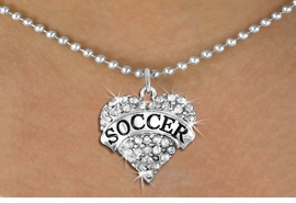 """<BR>     WHOLESALE FASHION HEART JEWELRY <bR>                   EXCLUSIVELY OURS!! <Br>              AN ALLAN ROBIN DESIGN!! <BR>     CLICK HERE TO SEE 1600+ EXCITING <BR>           CHANGES THAT YOU CAN MAKE! <BR>        LEAD, NICKEL & CADMIUM FREE!! <BR>   W1583SN - ANTIQUED SILVER TONE AND <BR>CLEAR CRYSTAL """"SOCCER"""" HEART CHARM <BR>   NECKLACE FROM $5.40 TO $9.85 �2014<BR>PICTURED ABOVE  """"BALL CHAIN NECKLACE"""""""