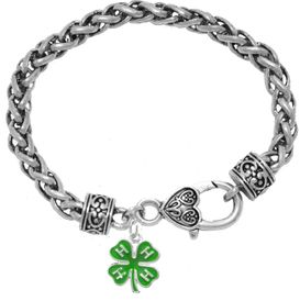 <BR>4-H CLUB ANTIQUE WHEAT CHAIN CHARM BRACELET