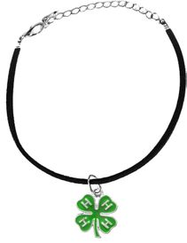 <BR><B>4-H CLUB BLACK SUEDE ADJUSTABLE BRACELET</B>