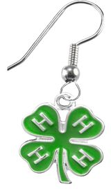 <BR><B>4-H CLUB FISHHOOK EARRINGS</B> <BR> <BR> HYPOALLERGENIC-SAFE<BR>NO NICKEL NO LEAD AND NO POISONOUS CADMIUM<BR>W1595E1  $9.68 EACH  �2019