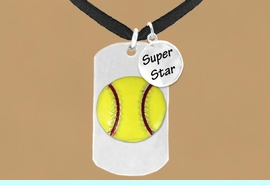 """<bR>             SOFTBALL NECKLACE - ADJUSTABLE<bR>                  <BR>                 LEAD & NICKEL FREE!!<BR>W16278N3 - DOUBLE-SIDED SOFTBALL<Br> """"NEVER GIVE UP"""" DOG TAG & """"SUPER<Br>       STAR"""" CHARM NECKLACE <bR>                  $12.38 EACH  &#169;2010"""