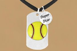 "<bR>             SOFTBALL NECKLACE - ADJUSTABLE<bR>                  <BR>                 LEAD & NICKEL FREE!!<BR>W16278N3 - DOUBLE-SIDED SOFTBALL<Br> ""NEVER GIVE UP"" DOG TAG & ""SUPER<Br>       STAR"" CHARM NECKLACE <bR>                  $12.38 EACH  &#169;2010"