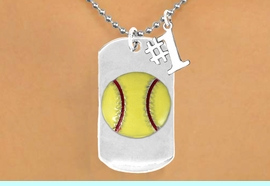 """<bR>          SOFTBALL DOG TAG NECKLACE - ADJUSTABLE   <bR>                 <BR>                 LEAD & NICKEL FREE!!<BR>W16279N5- DOUBLE-SIDED SOFTBALL<Br>    """"NEVER GIVE UP"""" DOG TAG & """"#1""""<bR>              CHARM NECKLACE <br>                $12.38 EACH  &#169;2010"""
