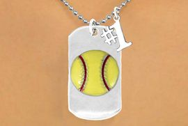 "<bR>          SOFTBALL DOG TAG NECKLACE - ADJUSTABLE   <bR>                 <BR>                 LEAD & NICKEL FREE!!<BR>W16279N5- DOUBLE-SIDED SOFTBALL<Br>    ""NEVER GIVE UP"" DOG TAG & ""#1""<bR>              CHARM NECKLACE <br>                $12.38 EACH  &#169;2010"