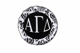 "W1641SC - ALPHA GAMMA DELTA BLACK AND WHITE FLORAL DISK CHARM<BR><FONT size=""2"">Buy 1-2 for $6.25 Each<br>Buy 3-5 for $5.63 Each<br>Buy 6-11 for $3.75 Each<br>Buy 12-23 for $3.56 Each<br>Buy 24-49 for $3.31 Each<br>Buy 50 or More for $2.94 Each</font>"