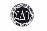"W1656SC - SIGMA DELTA TAU BLACK AND WHITE FLORAL DISK CHARM<BR><FONT size=""2"">Buy 1-2 for $6.25 Each<br>Buy 3-5 for $5.63 Each<br>Buy 6-11 for $3.75 Each<br>Buy 12-23 for $3.56 Each<br>Buy 24-49 for $3.31 Each<br>Buy 50 or More for $2.94 Each</font>"