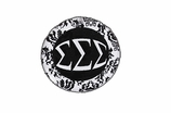 "W1658SC - SIGMA SIGMA SIGMA BLACK AND WHITE FLORAL DISK CHARM<BR><FONT size=""2"">Buy 1-2 for $6.25 Each<br>Buy 3-5 for $5.63 Each<br>Buy 6-11 for $3.75 Each<br>Buy 12-23 for $3.56 Each<br>Buy 24-49 for $3.31 Each<br>Buy 50 or More for $2.94 Each</font>"