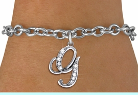 <BR>                             NICKEL FREE !<br>       PERSONALIZED INITIAL BRACELET <bR>                  EXCLUSIVELY OURS!! <Br>             AN ALLAN ROBIN DESIGN!! <BR>    CLICK HERE TO SEE 1000+ EXCITING <BR>          CHANGES THAT YOU CAN MAKE! <BR>                LEAD & NICKEL FREE!! <BR>   W1668SB - SILVER TONE AND CRYSTAL  <BR>SCRIPT ALPHABET INITIAL CHARM ON YOUR  <Br>CHOICE OF BRACELET FROM $4.15 TO $8.00