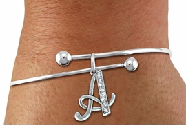 <BR>          NICKEL FREE & ADJUSTABLE BRACELET !<br>                   PERSONALIZED INITIAL BRACELET <bR>                              EXCLUSIVELY OURS!! <Br>                         AN ALLAN ROBIN DESIGN!! <BR>                CLICK HERE TO SEE 1600+ EXCITING <BR>                      CHANGES THAT YOU CAN MAKE! <BR>                            LEAD & NICKEL FREE!! <BR>               W1668SB - SILVER TONE AND CRYSTAL  <BR>SCRIPT ALPHABET INITIAL CHARM ON ADJUSTABLE <Br>            WIRE BRACELET FROM $4.50 TO $10.00