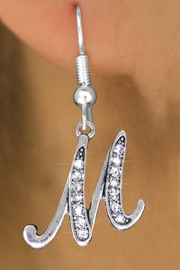 <BR>                        NICKEL FREE !<br>                     INITIAL EARRING <bR>                  EXCLUSIVELY OURS!! <Br>             AN ALLAN ROBIN DESIGN!! <BR>                LEAD & NICKEL FREE!! <BR>   W1668SE - SILVER TONE AND CRYSTAL  <br>    SCRIPT ALPHABET INITIAL CHARM ON <Br>FISHHOOK EARRINGS FROM $4.50 TO $8.35
