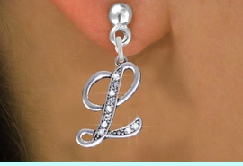 <BR>                       NICKEL FREE !<br>                     INITIAL EARRING <bR>                  EXCLUSIVELY OURS!! <Br>             AN ALLAN ROBIN DESIGN!! <BR>                LEAD & NICKEL FREE!! <BR>   W1668SE - SILVER TONE AND CRYSTAL  <br>    SCRIPT ALPHABET INITIAL CHARM ON <Br>   POST EARRINGS FROM $4.50 TO $8.35