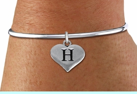 <BR>NICKEL FREE & ADJUSTABLE BRACELET !<br>       PERSONALIZED INITIAL BRACELET <bR>                  EXCLUSIVELY OURS!! <Br>             AN ALLAN ROBIN DESIGN!! <BR>    CLICK HERE TO SEE 1000+ EXCITING <BR>          CHANGES THAT YOU CAN MAKE! <BR>                LEAD & NICKEL FREE!! <BR>W1669SB - SILVER TONE HEART SHAPED  <BR>ALPHABET INITIAL CHARM ON SOLID WIRE <Br>OPEN BRACELET FROM $4.15 TO $8.00