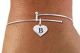 <BR>NICKEL FREE & ADJUSTABLE BRACELET !<br>       PERSONALIZED INITIAL BRACELET <bR>                  EXCLUSIVELY OURS!! <Br>             AN ALLAN ROBIN DESIGN!! <BR>    CLICK HERE TO SEE 1000+ EXCITING <BR>          CHANGES THAT YOU CAN MAKE! <BR>                LEAD & NICKEL FREE!! <BR>W1669SB - SILVER TONE HEART SHAPED  <BR>ALPHABET INITIAL CHARM ON ADJUSTABLE <Br>THIN WIRE BRACELET FROM $4.15 TO $8.00