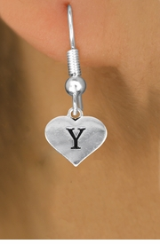 <BR>                        NICKEL FREE  !<br>                     INITIAL EARRING <bR>                  EXCLUSIVELY OURS!! <Br>             AN ALLAN ROBIN DESIGN!! <BR>                LEAD & NICKEL FREE!! <BR>  W1669SE - SILVER TONE HEART SHAPED <br>    SCRIPT ALPHABET INITIAL CHARM ON <Br>FISHHOOK EARRINGS FROM $4.50 TO $8.35