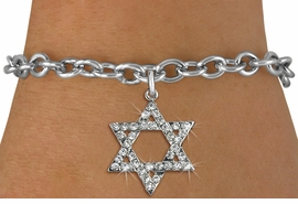 <BR>  WHOLESALE FASHION RELIGIOUS JEWELRY  <bR>                   EXCLUSIVELY OURS!!  <Br>              AN ALLAN ROBIN DESIGN!!  <BR>        LEAD, NICKEL & CADMIUM FREE!!  <BR>W1670SB - SILVER TONE & CLEAR CRYSTAL <BR>HEBREW / JEWISH STAR OF DAVID CHARM ON <BR>TOGGLE BRACELET FROM $5.40 TO $9.85 �2015