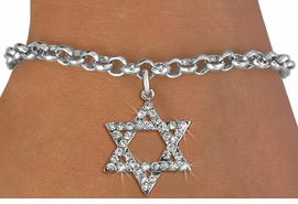 <BR>  WHOLESALE FASHION RELIGIOUS JEWELRY  <bR>                   EXCLUSIVELY OURS!!  <Br>              AN ALLAN ROBIN DESIGN!!  <BR>        LEAD, NICKEL & CADMIUM FREE!!  <BR>W1670SB - SILVER TONE & CLEAR CRYSTAL <BR>HEBREW / JEWISH STAR OF DAVID CHARM ON <BR>CHAIN BRACELET FROM $5.40 TO $9.85 �2015