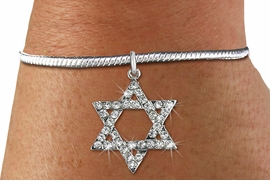 <BR>  WHOLESALE FASHION RELIGIOUS JEWELRY  <bR>                   EXCLUSIVELY OURS!!  <Br>              AN ALLAN ROBIN DESIGN!!  <BR>        LEAD, NICKEL & CADMIUM FREE!!  <BR>W1670SB - SILVER TONE & CLEAR CRYSTAL <BR>HEBREW / JEWISH STAR OF DAVID CHARM ON <BR>SNAKE BRACELET FROM $5.40 TO $9.85 �2015