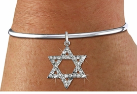 <BR>  WHOLESALE FASHION RELIGIOUS JEWELRY  <bR>                   EXCLUSIVELY OURS!!  <Br>              AN ALLAN ROBIN DESIGN!!  <BR>        LEAD, NICKEL & CADMIUM FREE!!  <BR>W1670SB - SILVER TONE & CLEAR CRYSTAL <BR>HEBREW / JEWISH STAR OF DAVID CHARM ON <BR>  ADJUSTABLE SCREW BALL OPEN BRACELET  <Br>           FROM $5.98 TO $12.85 �2015