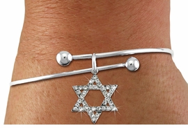 <BR>  WHOLESALE FASHION RELIGIOUS JEWELRY  <bR>                   EXCLUSIVELY OURS!!  <Br>              AN ALLAN ROBIN DESIGN!!  <BR>        LEAD, NICKEL & CADMIUM FREE!!  <BR>W1670SB - SILVER TONE & CLEAR CRYSTAL <BR>HEBREW / JEWISH STAR OF DAVID CHARM ON <BR>     ADJUSTABLE SOLID WIRE BRACELET  <Br>         FROM $5.98 TO $12.85 �2015